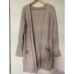Long open front knit sweater
